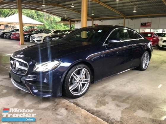 2018 MERCEDES-BENZ E-CLASS E300 AMG Premium-Plus Coupe 2.0 Turbocharged 9G-Tronic 241hp Fully Loaded Panoramic Roof Smart Entry Push Start Button Memory Bucket Seat Automatic Power Boot Intelligent Bi-LED Paddle Shift Ambient Dynamic Bluetooth Connectivity Unreg