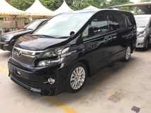2012 TOYOTA VELLFIRE  2.4 Z Spec New Facelift Sport Package 7 Seat 2 Power Doors Original Body Kit Full Side Skirting Keyless Smart Entry Push Start Button Xenon Light Front  Reverse Camera DVD Player Dual Zone Climate Control 9 Air Bags 1 Year Warranty Unreg