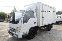 2011 BISON BJ 1039 Box Van Bonded 12ft Steel Chaquer Plate Floorboard Sliding Door 4800kg Green Engine