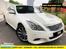 2012 INFINITI G COUPE G37 LOCAL SPEC 43KM FULL SERVISE RECORD DEMO CONDITION SUNROOF ORIGINAL PAINT LIMITED CAR