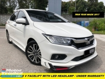 2017 HONDA CITY 1.5V UNDER WARRANTY FULL SERVICE RECORD FACELIFT MODEL WITH DAYLIGH LED HEADLAMP LED TAILLAMP