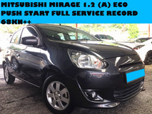 2013 MITSUBISHI MIRAGE 1.2 CC (A) ECO PUSH START FULL SERVICE RECORD 60KM PERODUA MYVI 1.3 1.5 CC ALSO GOT