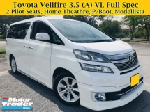 2013 TOYOTA VELLFIRE 3.5 (A) VL Full Spec Surround Camera Power Boot Modellista Body Kit