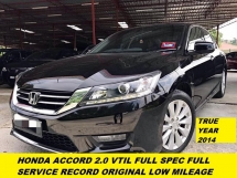 2014 HONDA ACCORD 2.0 VTI-L HIGH SPEC FULL LEATHER SEAT NAVI HD REVERE CAMERA COMFORTABLE CAR ONE TEACHER OWNER BEFORE FULL SERVISE RECORD HONDA LOW MILEAGE