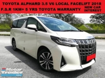 2018 TOYOTA ALPHARD 3.5 V6 NEW FACELIFT FULL SPEC (A)(CKD) FULL SERVICE RECORD 1K+ UNDER WARRANTY SUN MOONROOF PILOT SEA