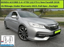 2018 HONDA ACCORD 2.4 VTI-L (A) 1k+Mileage Only! New Facelift Under Warranty 2023
