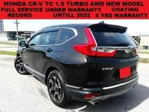 2017 HONDA CR-V TC 1.5 CRV  TURBO AWD SUV (A) F.S.R UNDER WARRANTY 4 YRS COATING WARRANTY PADDLE SHIFT KEYLEE ENTRY & STA