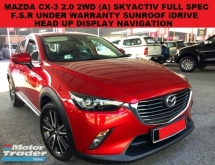 2016 MAZDA CX-3 2.0 (A) SKYACTIV FULL SPEC SUV FULL SERVICE RECORD UNDER WARRANTY SUNROOF NAVIGATION HEAD UP DISPLAY
