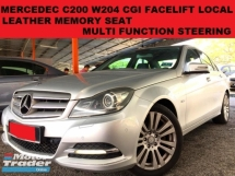 2011 MERCEDES-BENZ C-CLASS C200 W204 CGI 1.8 (A) LOCAL SPEC FULL LEATHER SEAT MULTI FUNCTION STEERING