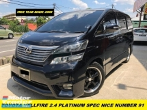 2008 TOYOTA VELLFIRE 2.4Z PLATINUM SELECTION ONE OWNER NICE NUMBER 91 2POWER DOOR 7 SEATER ONJE OWNER