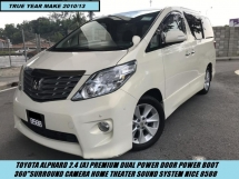 2012 TOYOTA ALPHARD 2.4 PREMIUM DUAL POWER DOOR POWER BOOT SURROUND CAMERA NICE PLATE 8588