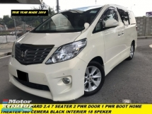 2012 TOYOTA ALPHARD 2.4 2PWR DOOR 7 SEATHER H/THEATER 18 SPEAKER 2 PWR DOOR 1 PWR BOOT 3 CAMERA AUTO PARKING CONTROL