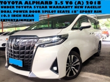 2018 TOYOTA ALPHARD 3.5 (A) V6 Local Facelift 2018 Under Toyota 5 Year Warranty