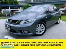 2016 HONDA CIVIC 1.8S-L LEATHER SEAT PUST START 1 LADY OWNER ORI PAINT FULL SERVICE RECORD UNDER WARRANTLY