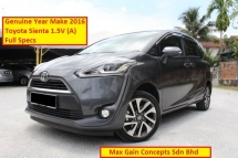 2016 TOYOTA SIENTA 1.5V (A) Full Specs (2 Power Door)(Under Warranty 2021 Unlimited Mileage)