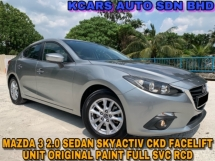 2016 MAZDA 3 CKD 2.0 SDN (GL) FULL SVC RCD ORIGINAL PAINT