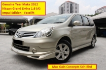 2012 NISSAN GRAND LIVINA 1.6 (A) Impul Edition Facelift (Ori Year Make 2012)(7 Seaters MPV)(1 Owner)(Loan Up to 8 Years)