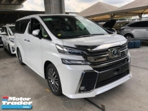 2016 TOYOTA VELLFIRE 2.5ZG PRE CRASH STOP SYSTEM 360 SURROUND CAMERA AUTO CRUISE MEMORY SEMI LEATHER PILOT SEATS DVD