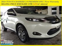 2014 TOYOTA HARRIER 2.0 PREMIUM SPEC  3Year Warranty SELLING PRICE RM158,888~OTR 2.6%+/- interest
