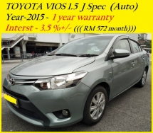 2015 TOYOTA VIOS 1.5J (AT)  1 year warranty  RM49,888 ~ OTR  👍installment RM573 months😊👍