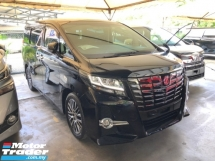 2015 TOYOTA ALPHARD 2.5 SC 360 Surround Camera Intelligent Full-LED Lights Pilot Memory Seat Automatic Power Boot 2 Power Doors Keyless-Go Smart Entry Multi Function Steering Drive Hold 3 Zone Climate Control Eco Mode Roller Blind 9 Air Bags Unreg