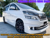 2012 TOYOTA VELLFIRE 2.4X 8 SEATERS POWER BOOT ROOF MONITOR NICE NUM PLATE