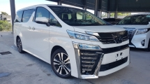 2019 TOYOTA VELLFIRE 2019 Toyota Vellfire 2.5 ZG Full Spec Sun Roof JBL Home Theater 4 Camera Pre Crash LTA DIM Leather Power Boot Unregister