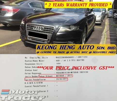 2011 AUDI A4 2.0 TFSI QUATTRO (ACTUAL YR MADE 2011)(GST INCLU)(FULL SERVICE RCD)(CBU IMPORT BARU)(1 OWNER)