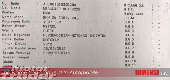 2012 BMW Z4 2.0 (A) TAHUN DIBUAT 2012