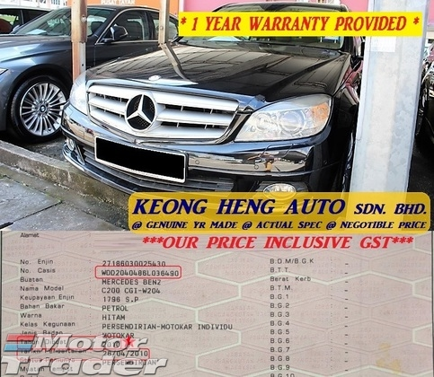 2010 MERCEDES-BENZ C-CLASS W204 1.8 CGI (ACTUAL YR MADE 2010)(GST INCLU)(CKD LOCAL SPEC)(1 OWNER)(TIP TOP)(KL CHERAS AREA)