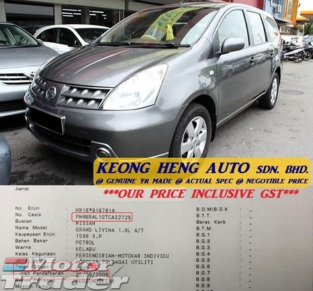 2008 NISSAN GRAND LIVINA 1.6 STL MPV (ACTUAL YR MADE 2008)(GST INCLU)(1 OWNER)(7 SEATER)(TIPTOP)(KL CHERAS AREA)