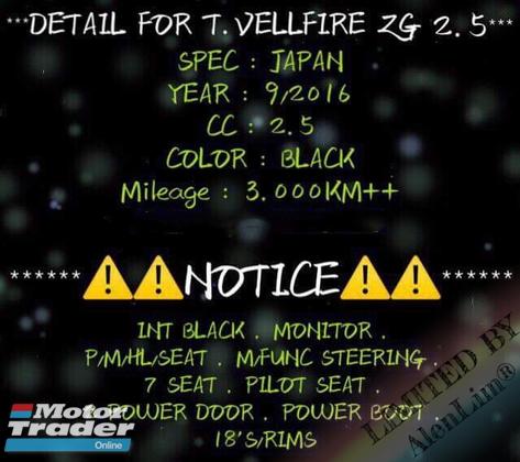 2016 TOYOTA VELLFIRE ZG 2.5 (UNREG) By AlenLim
