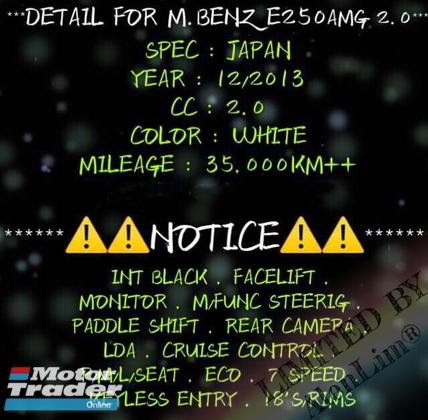 2013 MERCEDES-BENZ E-CLASS E250 AMG 2.0 (UNREG) By AlenLim