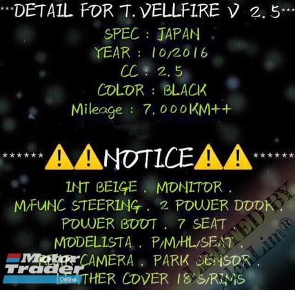 2016 TOYOTA VELLFIRE V Spec 2.5 (UNREG) By AlenLim