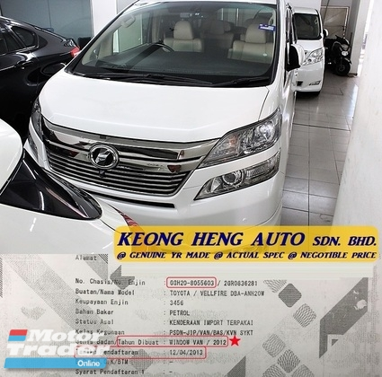 2012 TOYOTA VELLFIRE 3.5 VL MPV (ACTUAL YR MADE 2012)(NO GST)(VL FULL SPEC)(1 OWNER)(REG 2013)(LOW MILE LIKE NEW)(KL CHERAS AREA)