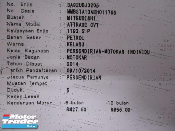 2014 MITSUBISHI ATTRAGE GS 1.2 auto push start bodykit 1 owner
