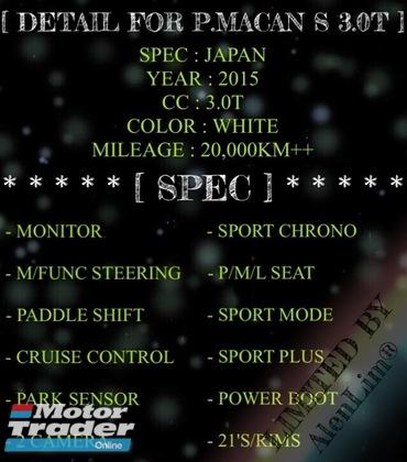 2015 PORSCHE MACAN S 3.0T (UNREG) SPORT CHRONO INT BEIGE SPORT PLUS