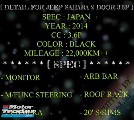 2014 JEEP WRANGLER SAHARA 3.6 (UNREG) ARB BAR 2 CAM