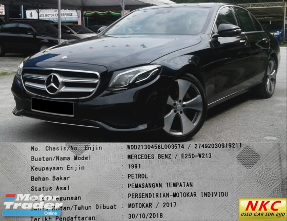 2017 MERCEDES-BENZ E-CLASS E250 2.0 (A) AVANTGARDE FULLY LOADED