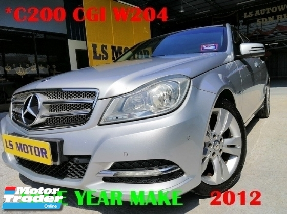 2012 MERCEDES-BENZ C-CLASS C200 CGI 1.8 AUTO ELEGANCE -FACELIFT MODEL -FREE 1YEAR WARRANTY - 1LADY OWNER - ACC FREE - FULL SERVICE RECORD - CLEAN INTERIOR - NON SMOKING OWNER - WELL MAINTAIN - LIKE NEW - VIEW TO BELIEVE -