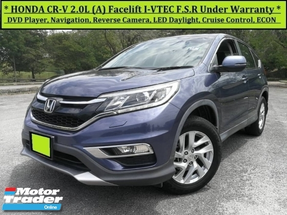 2015 HONDA CR-V 2.0L iVTEC (A) SUV F.S.R. Under Warranty 2020 CRV