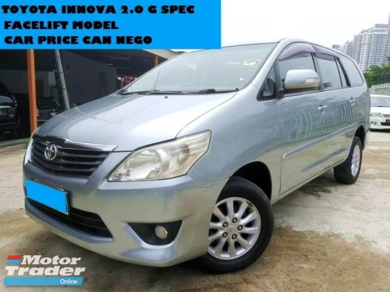 2012 TOYOTA INNOVA 2.0 G SPEC FACELIFT MODEL MPV WARRANTY ONE YEAR CAR PRICE CAN NEGO