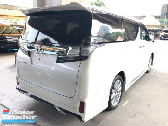 2015 TOYOTA VELLFIRE 2.5 ZA Modelista Edition 360 Surround Camera 7 Seat Automatic Power Boot 2 Power Door Intelligent Bi LED Smart Entry Push Start 3 Zone Climate Auto Cruise Multi Function Steering Bluetooth Connectivity 9 Air Bag Unreg