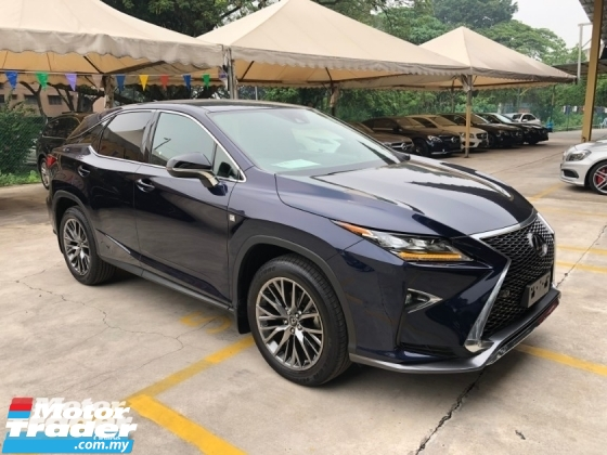 2017 LEXUS RX RX200t F Sport 2.0 Turbocharged 360 View Camera Pre Crash Head Up Display Running LED Intelligent Lane Departure Assist Multi Function Paddle Shift Steering Smart Entry Lane Departure Assist Bluetooth Connectivity Unreg