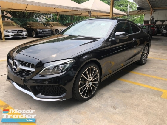 2017 MERCEDES-BENZ C-CLASS C300 C200 AMG Premium Coupe 2.0 Turbocharged 9G-Tronic 241hp Fully Loaded Panoramic Roof Smart Entry Push Start Button Memory Bucket Seat Burmester 3D Sound Automatic Power Boot Intelligent Full-LED Hi Beam Paddle Shift Bluetooth Connectivity Unreg