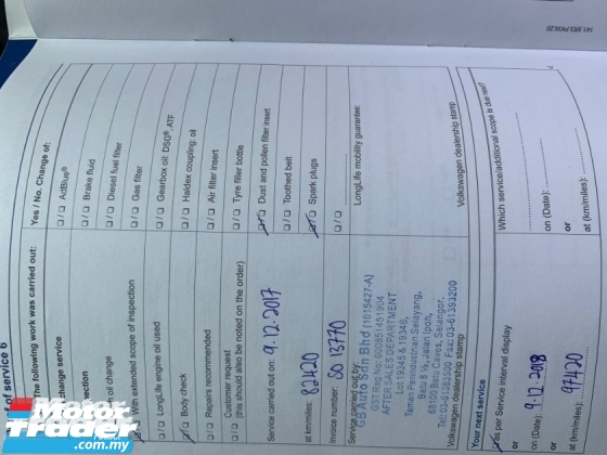 2015 VOLKSWAGEN POLO 1.6 (CKD) FACELIFT (A) FULL SERVICE RECORD