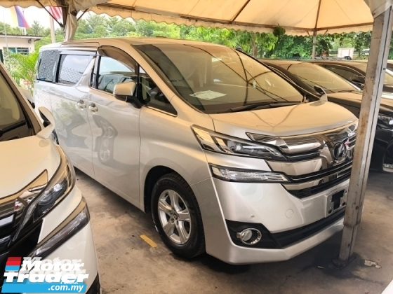 2016 TOYOTA VELLFIRE 2.5 2AR-FE 2WD Sun Roof Moon Roof Adaptive Bi LED Power Door Smart Entry Push Start Button Multi Function Steering 3 Zone Climate Control 9 Air Bags Unreg