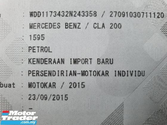 2015 MERCEDES-BENZ CLA 200 1.6(A) (FREE 2 YEARS WARRANTY) 1 Owner (mil 55k km)