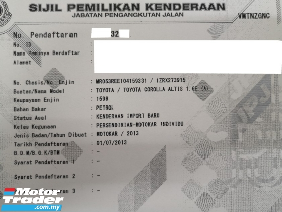 2013 TOYOTA COROLLA ALTIS 1.6 1.8 (A) Dual VVti Good Condition YearMade 2013