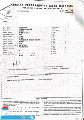2014 NISSAN ALMERA 1.5 VL (A) MUST VIEW CAR